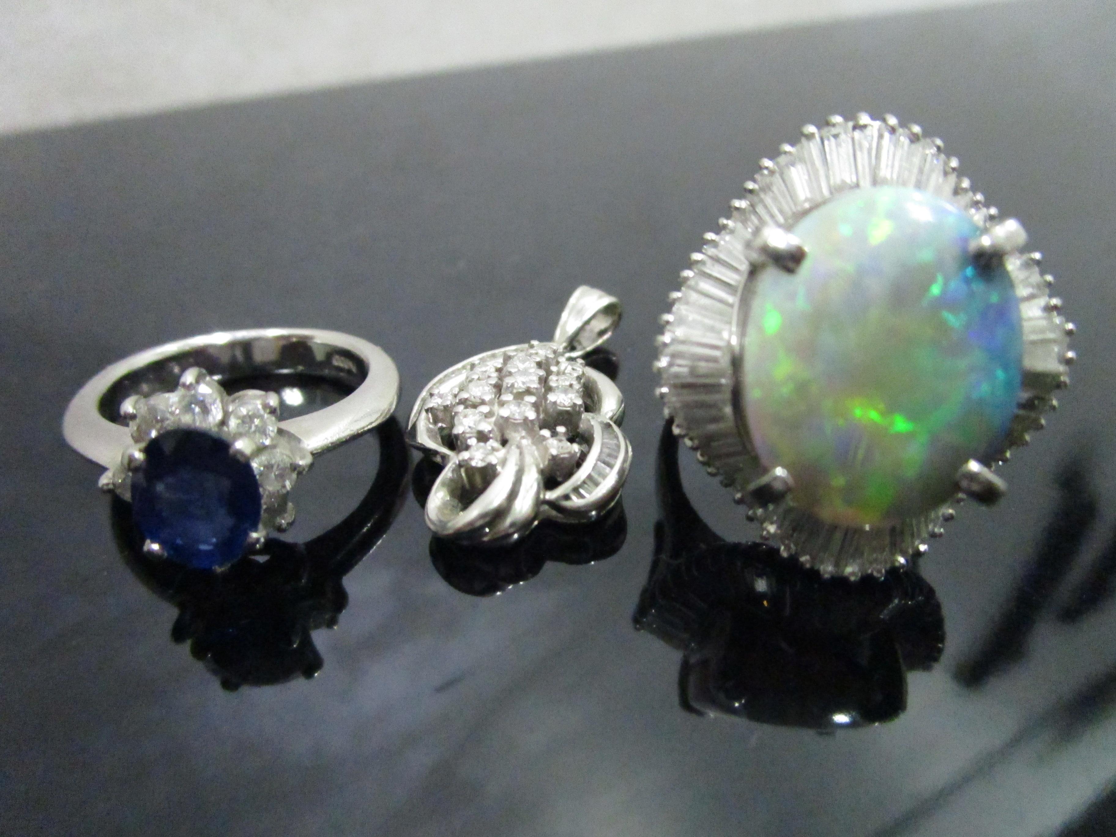サファイヤ オパール ダイヤ 貴金属 指輪 プラチナ-1 (1)